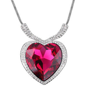 Dark Pink Titanic Necklace Heart of the Ocean NewBoutique for sale